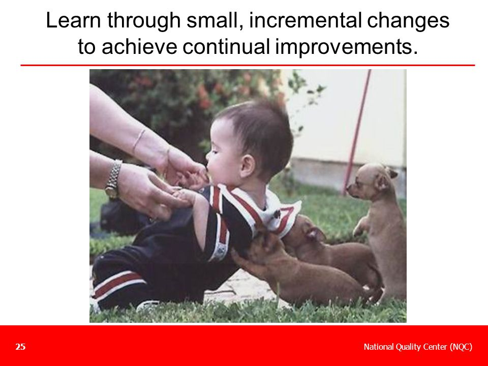 Learn through small, incremental changes to achieve continual improvements.