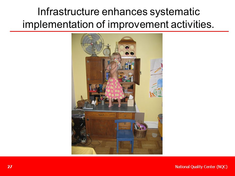Infrastructure enhances systematic implementation of improvement activities.