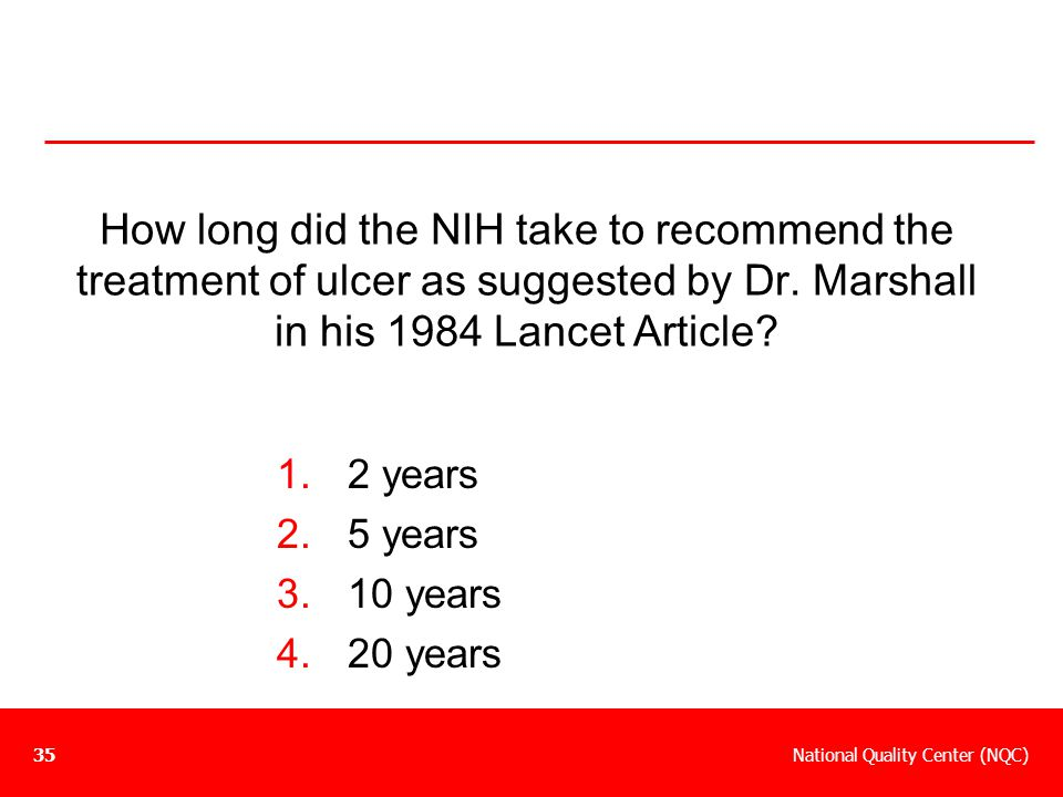 How long did the NIH take to recommend the treatment of ulcer as suggested by Dr. Marshall in his 1984 Lancet Article