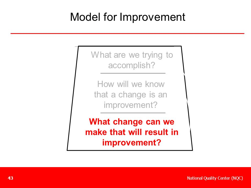 What change can we make that will result in improvement