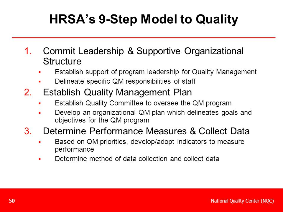 HRSA's 9-Step Model to Quality