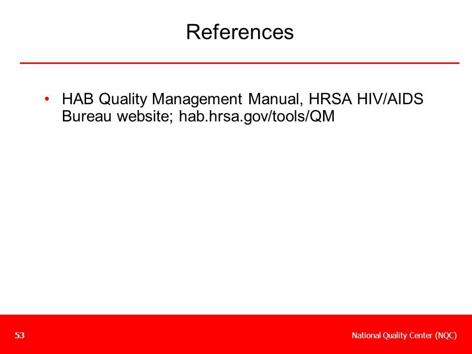 References HAB Quality Management Manual, HRSA HIV/AIDS Bureau website; hab.hrsa.gov/tools/QM