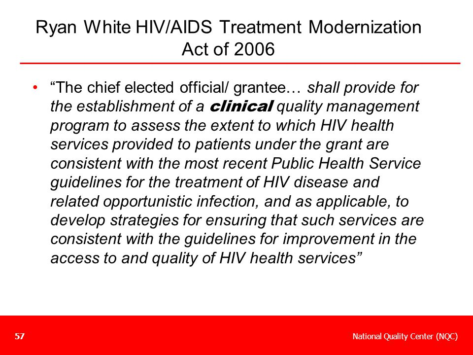 Ryan White HIV/AIDS Treatment Modernization Act of 2006