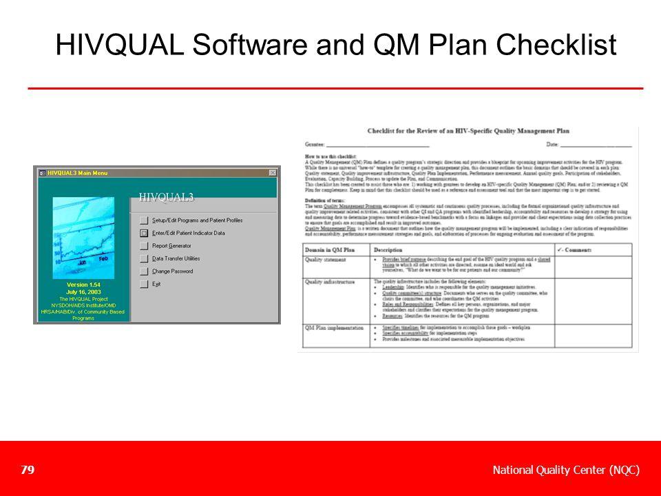 HIVQUAL Software and QM Plan Checklist