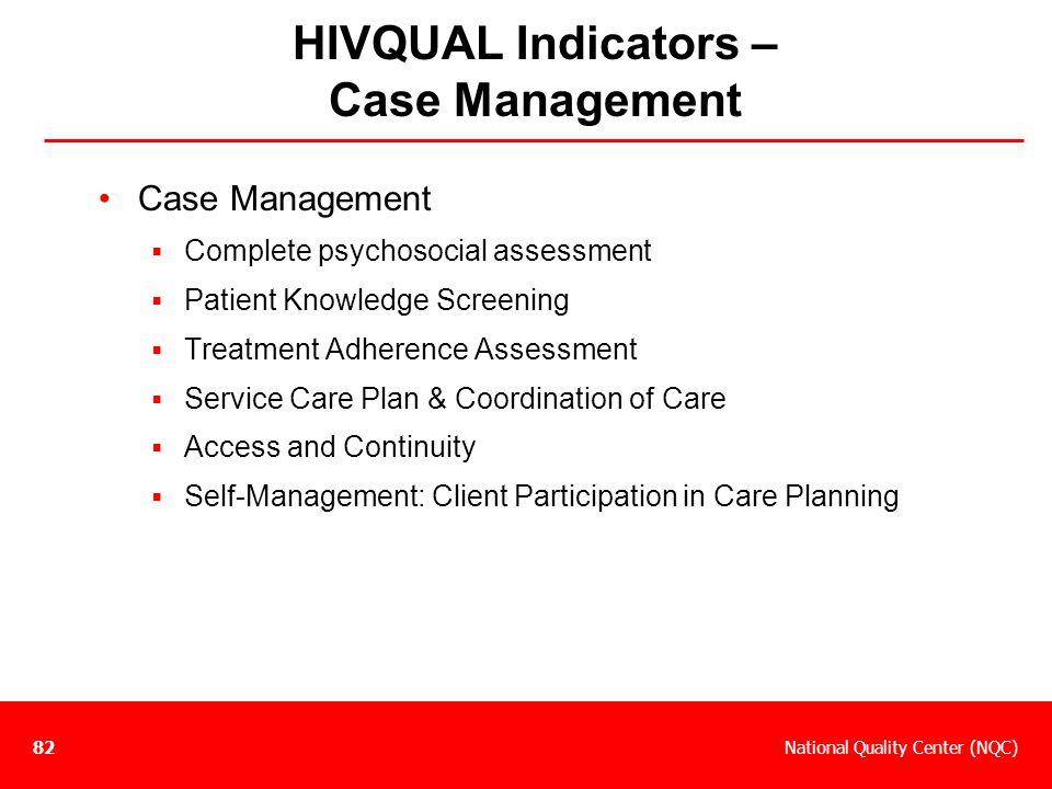 HIVQUAL Indicators – Case Management