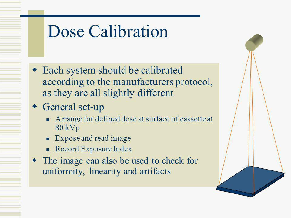 Dose Calibration Each system should be calibrated according to the manufacturers protocol, as they are all slightly different.