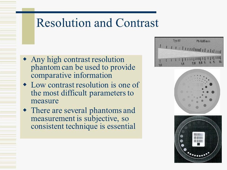 Resolution and Contrast