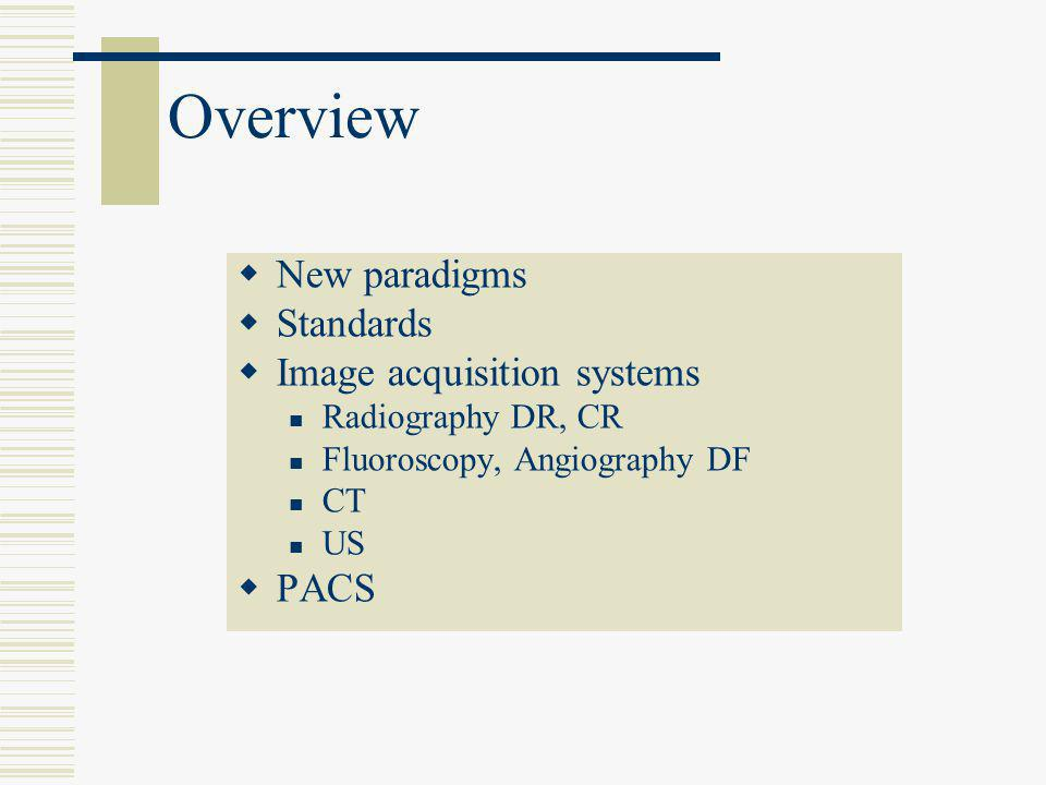 Overview New paradigms Standards Image acquisition systems PACS