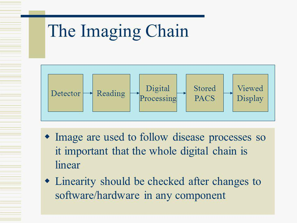 The Imaging Chain Detector. Reading. Digital. Processing. Stored. PACS. Viewed. Display.