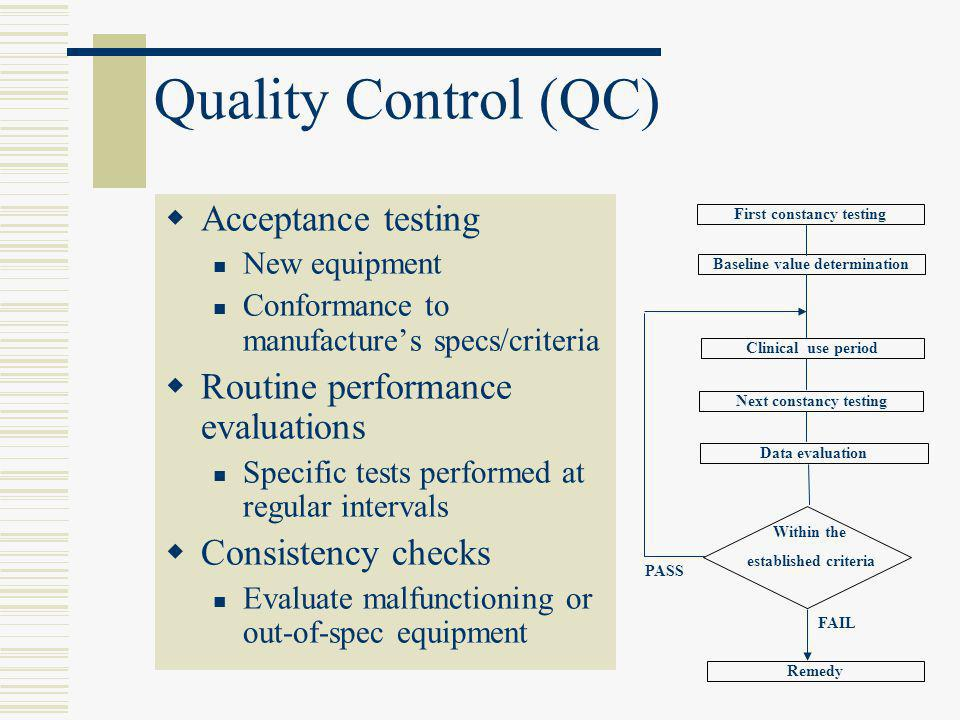 Quality Control (QC) Acceptance testing
