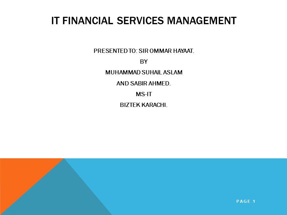IT FINANCIAL SERVICES MANAGEMENT