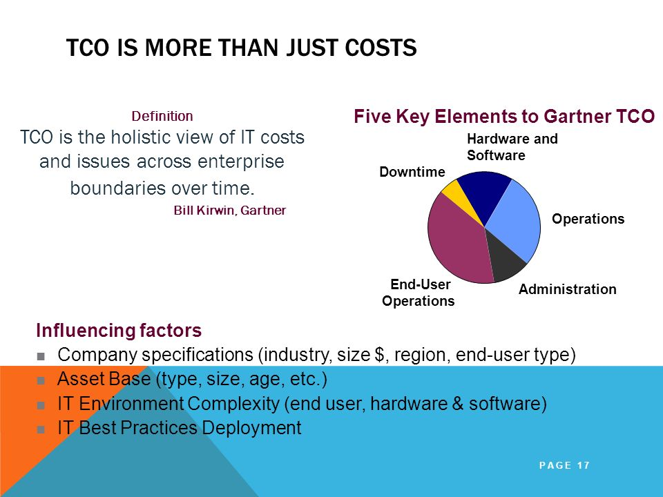 TCO Is More Than Just Costs