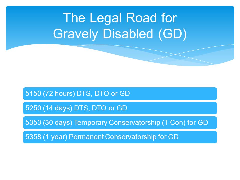 The Legal Road for Gravely Disabled (GD)