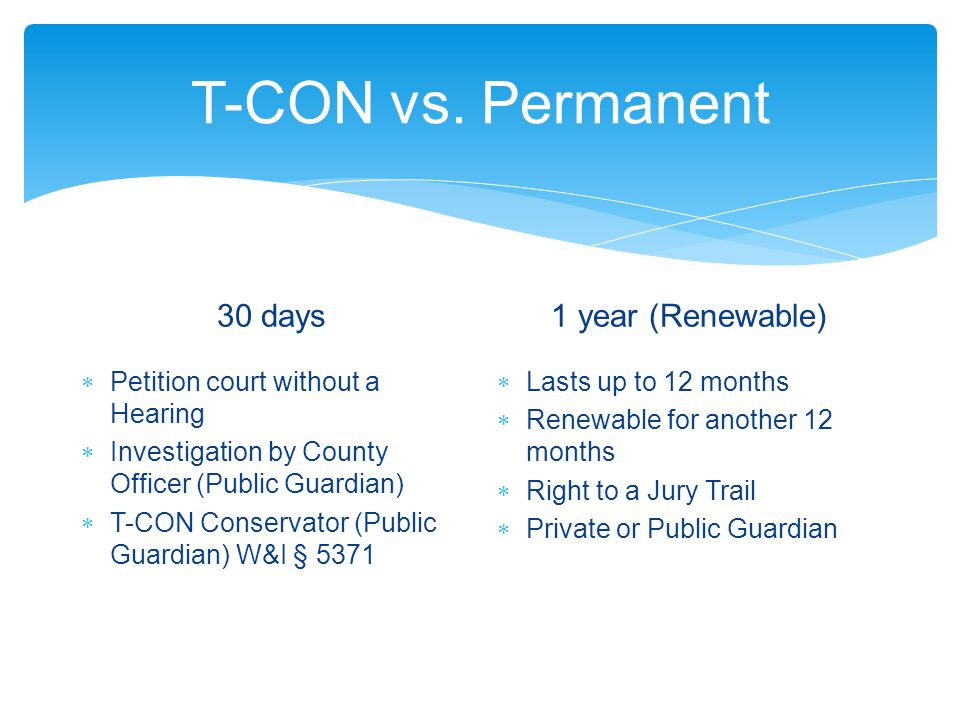 T-CON vs. Permanent 30 days 1 year (Renewable)