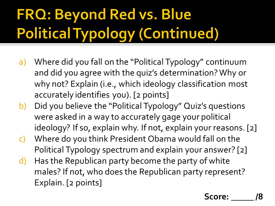 FRQ: Beyond Red vs. Blue Political Typology (Continued)