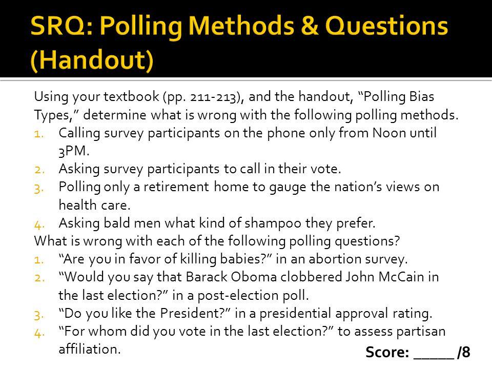 SRQ: Polling Methods & Questions (Handout)