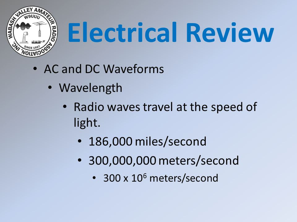 Electrical Review AC and DC Waveforms Wavelength