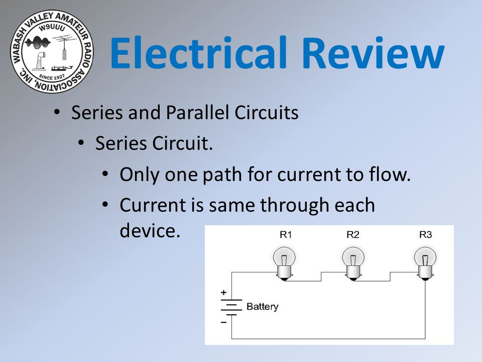 Electrical Review Series and Parallel Circuits Series Circuit.
