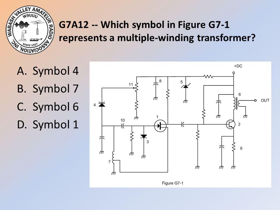 A. Symbol 4 B. Symbol 7 C. Symbol 6 D. Symbol 1