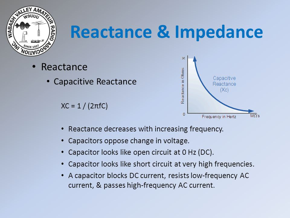 Reactance & Impedance Reactance Capacitive Reactance XC = 1 / (2πfC)