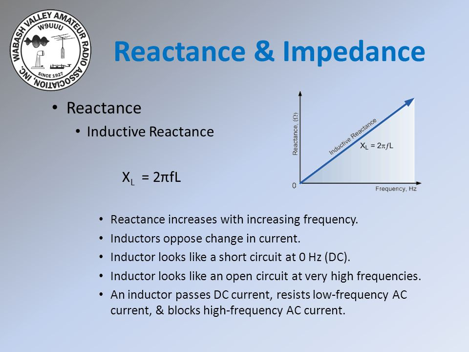 Reactance & Impedance Reactance Inductive Reactance XL = 2πfL