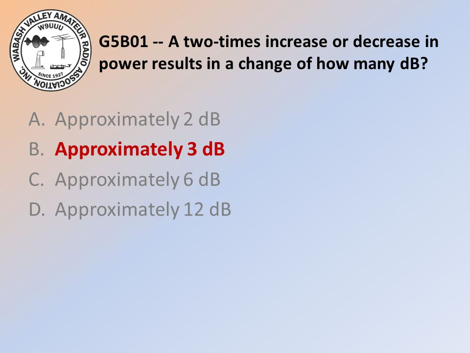 G5B01 -- A two-times increase or decrease in power results in a change of how many dB