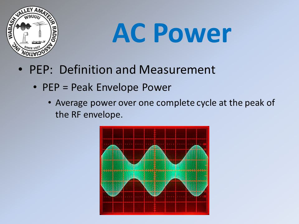 AC Power PEP: Definition and Measurement PEP = Peak Envelope Power