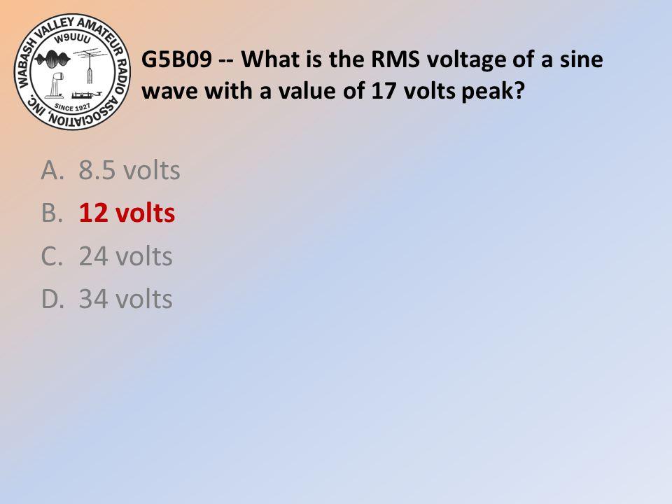 A. 8.5 volts B. 12 volts C. 24 volts D. 34 volts