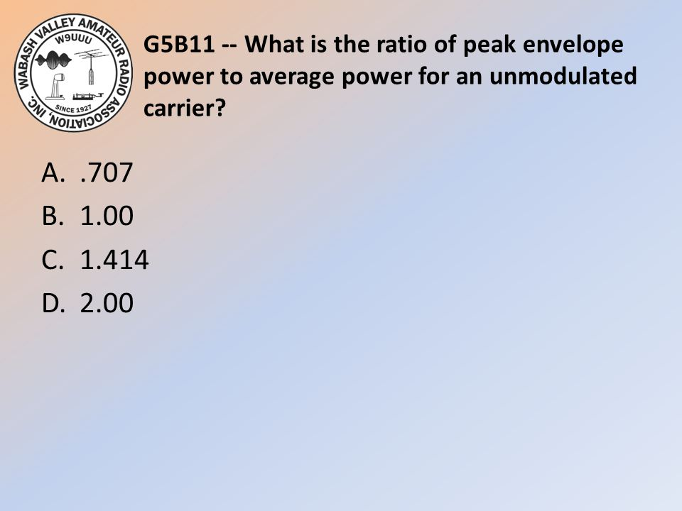 G5B11 -- What is the ratio of peak envelope power to average power for an unmodulated carrier