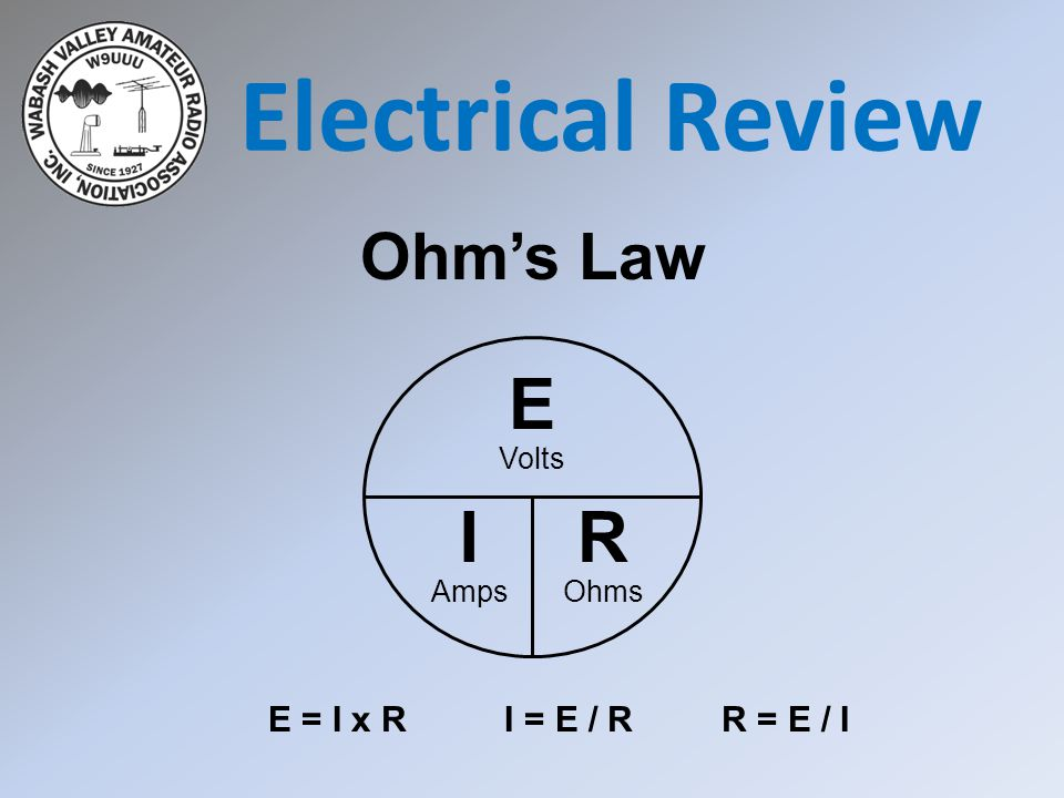 Electrical Review E I R Ohm's Law E = I x R I = E / R R = E / I Volts