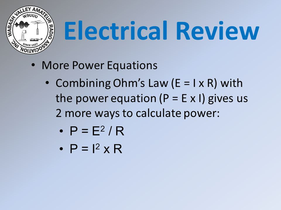 Electrical Review More Power Equations
