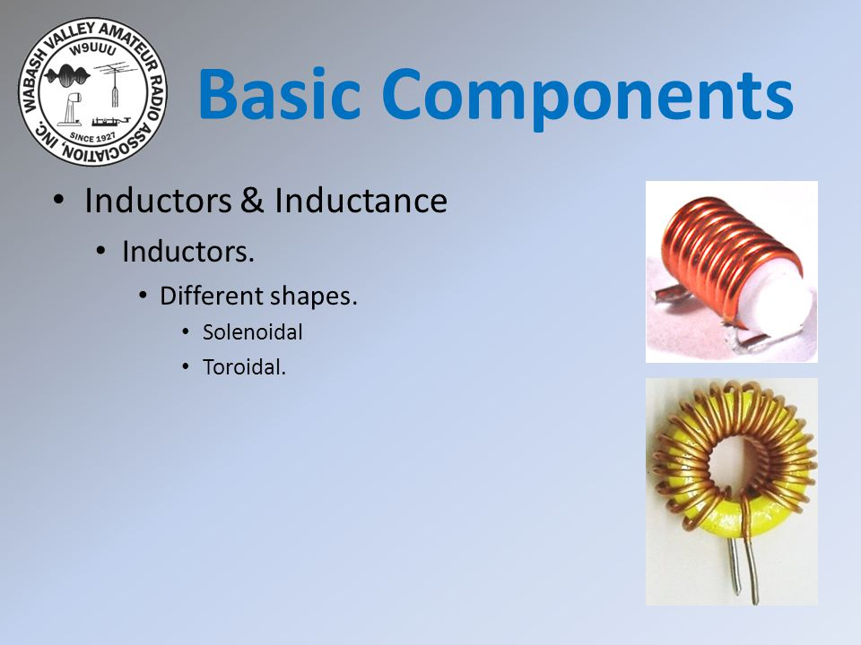Basic Components Inductors & Inductance Inductors. Different shapes.