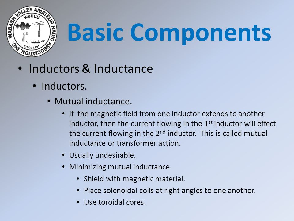 Basic Components Inductors & Inductance Inductors. Mutual inductance.