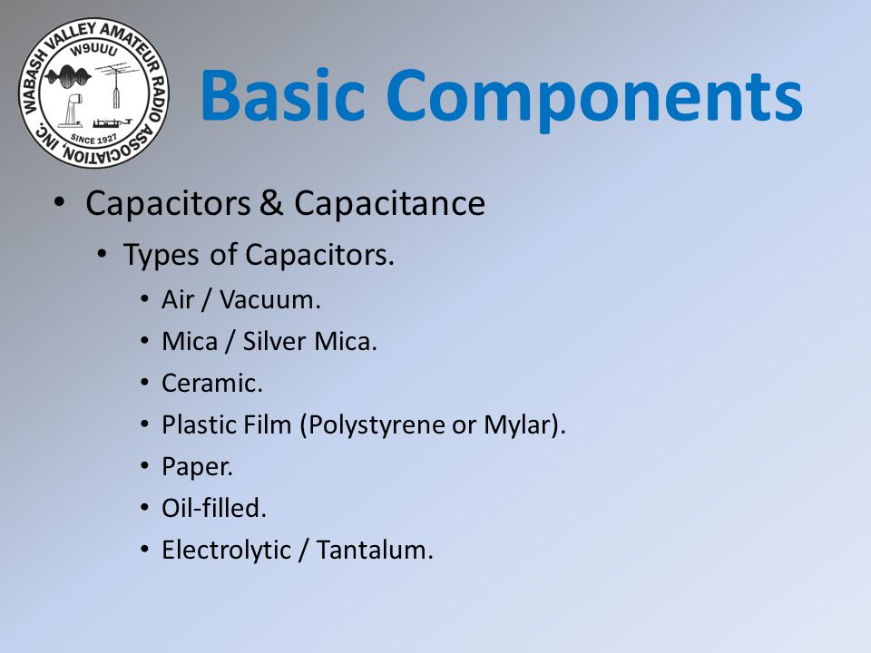 Basic Components Capacitors & Capacitance Types of Capacitors.