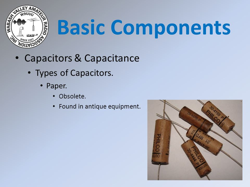 Basic Components Capacitors & Capacitance Types of Capacitors. Paper.