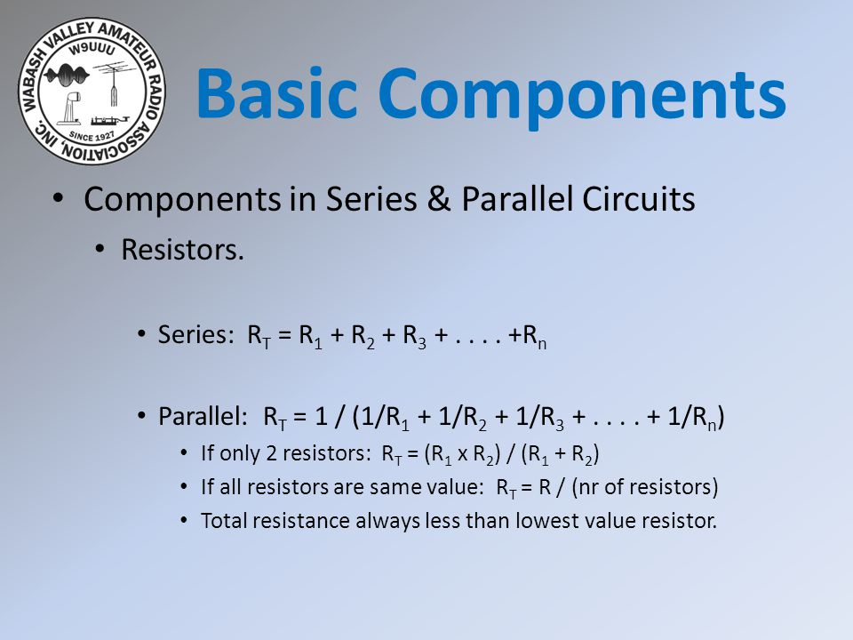 Basic Components Components in Series & Parallel Circuits Resistors.