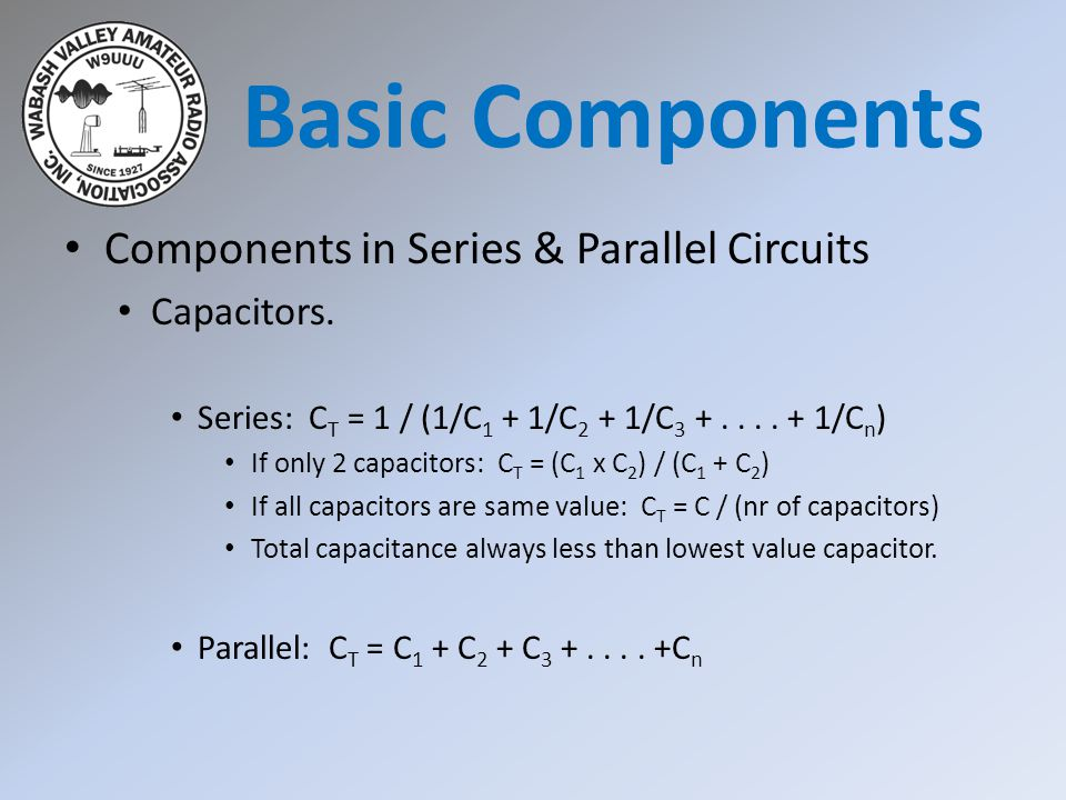 Basic Components Components in Series & Parallel Circuits Capacitors.