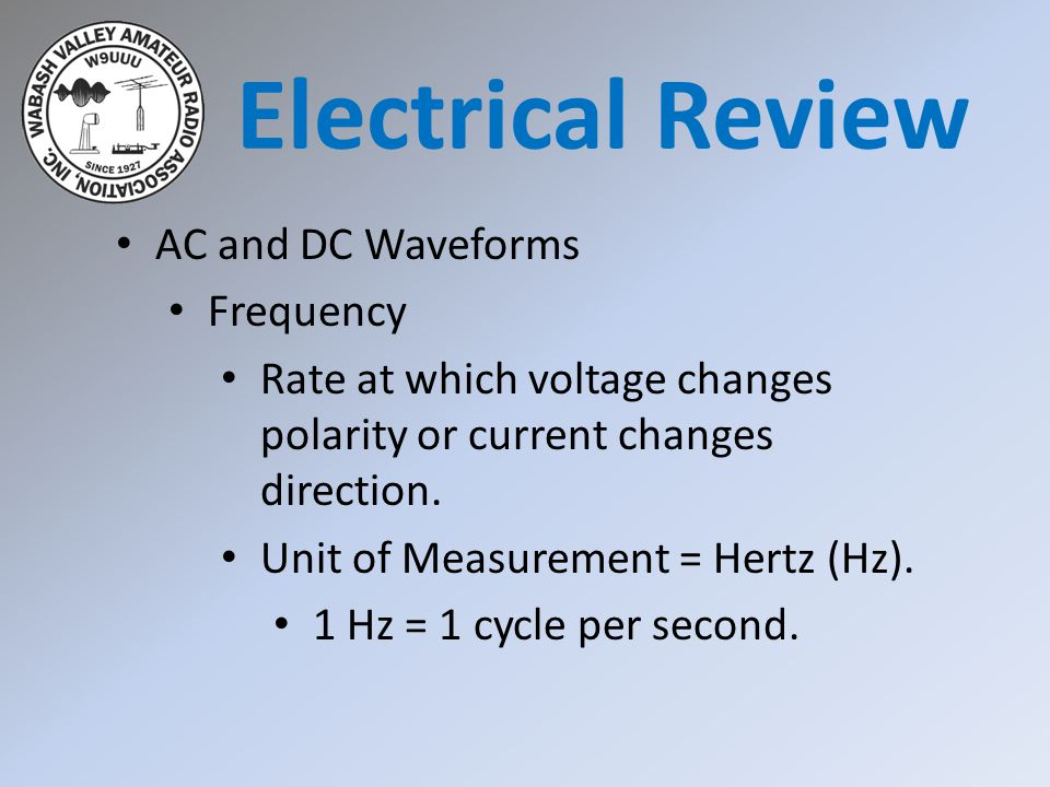 Electrical Review AC and DC Waveforms Frequency