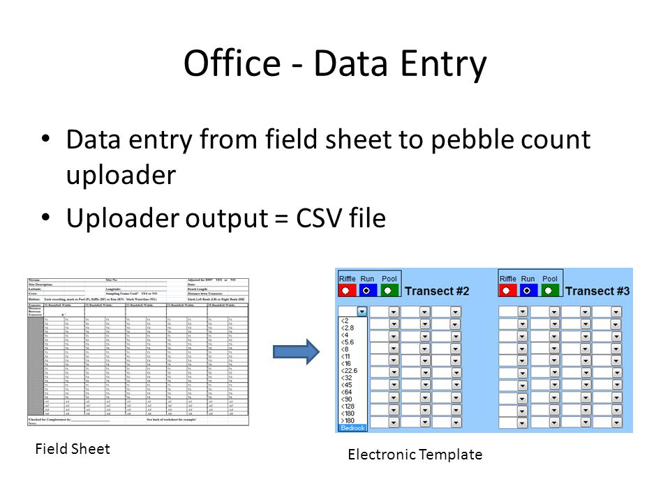 Office - Data Entry Data entry from field sheet to pebble count uploader. Uploader output = CSV file.