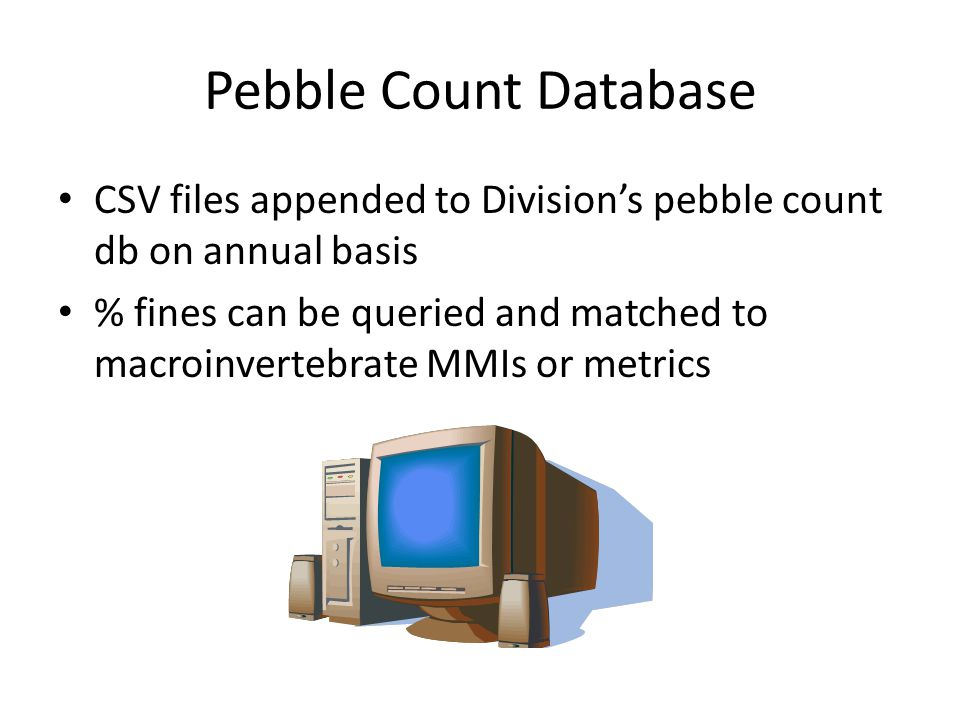 Pebble Count Database CSV files appended to Division's pebble count db on annual basis.
