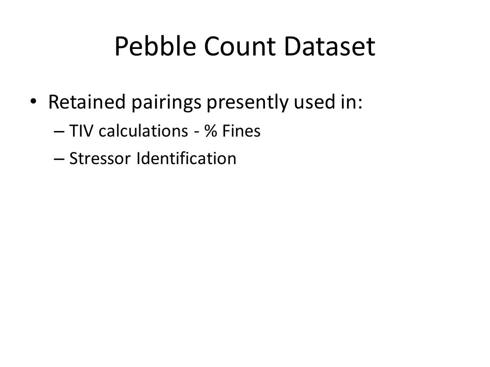Pebble Count Dataset Retained pairings presently used in:
