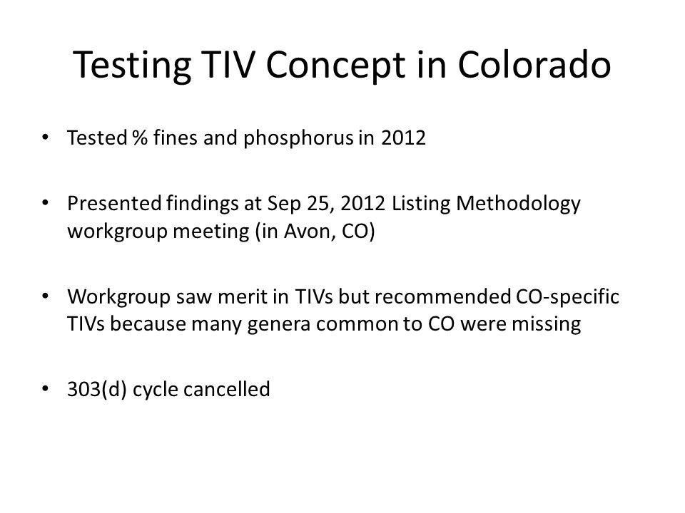 Testing TIV Concept in Colorado