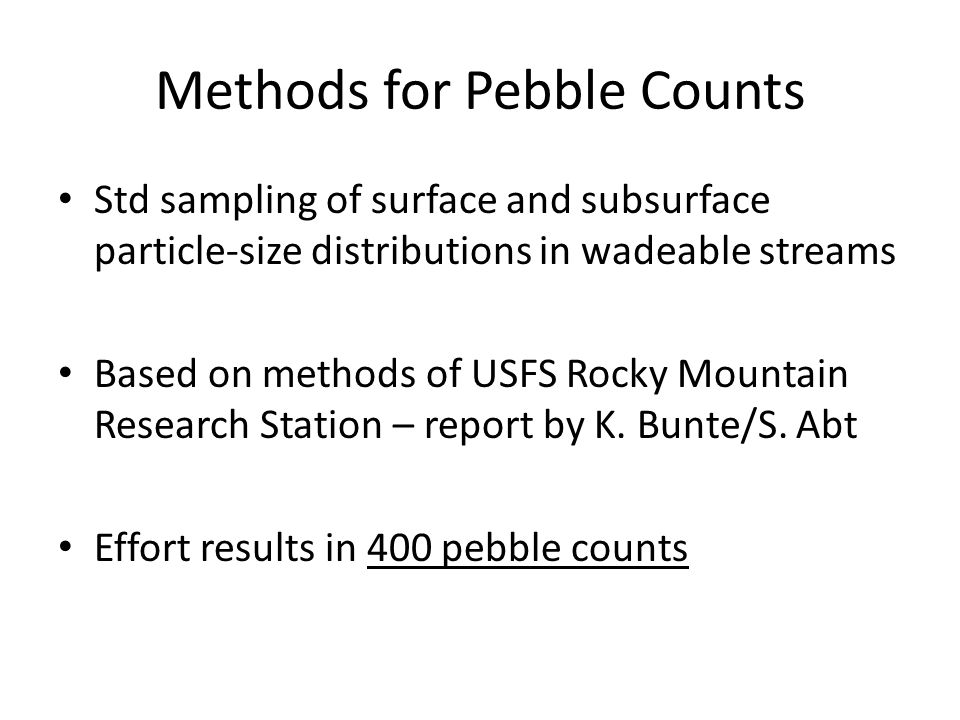 Methods for Pebble Counts