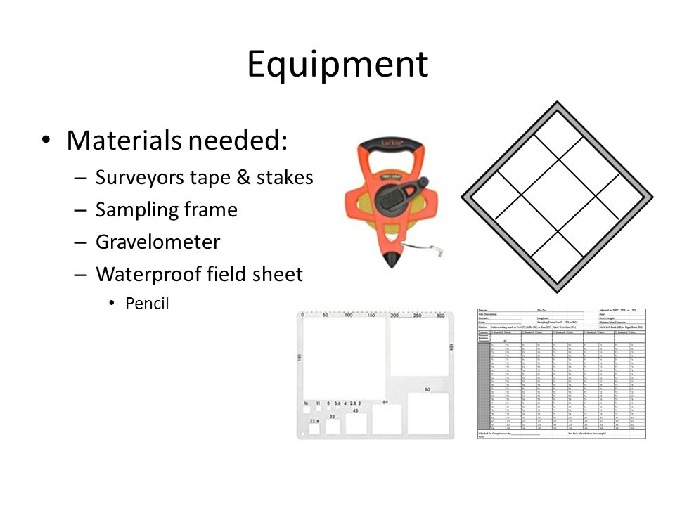 Equipment Materials needed: Surveyors tape & stakes Sampling frame