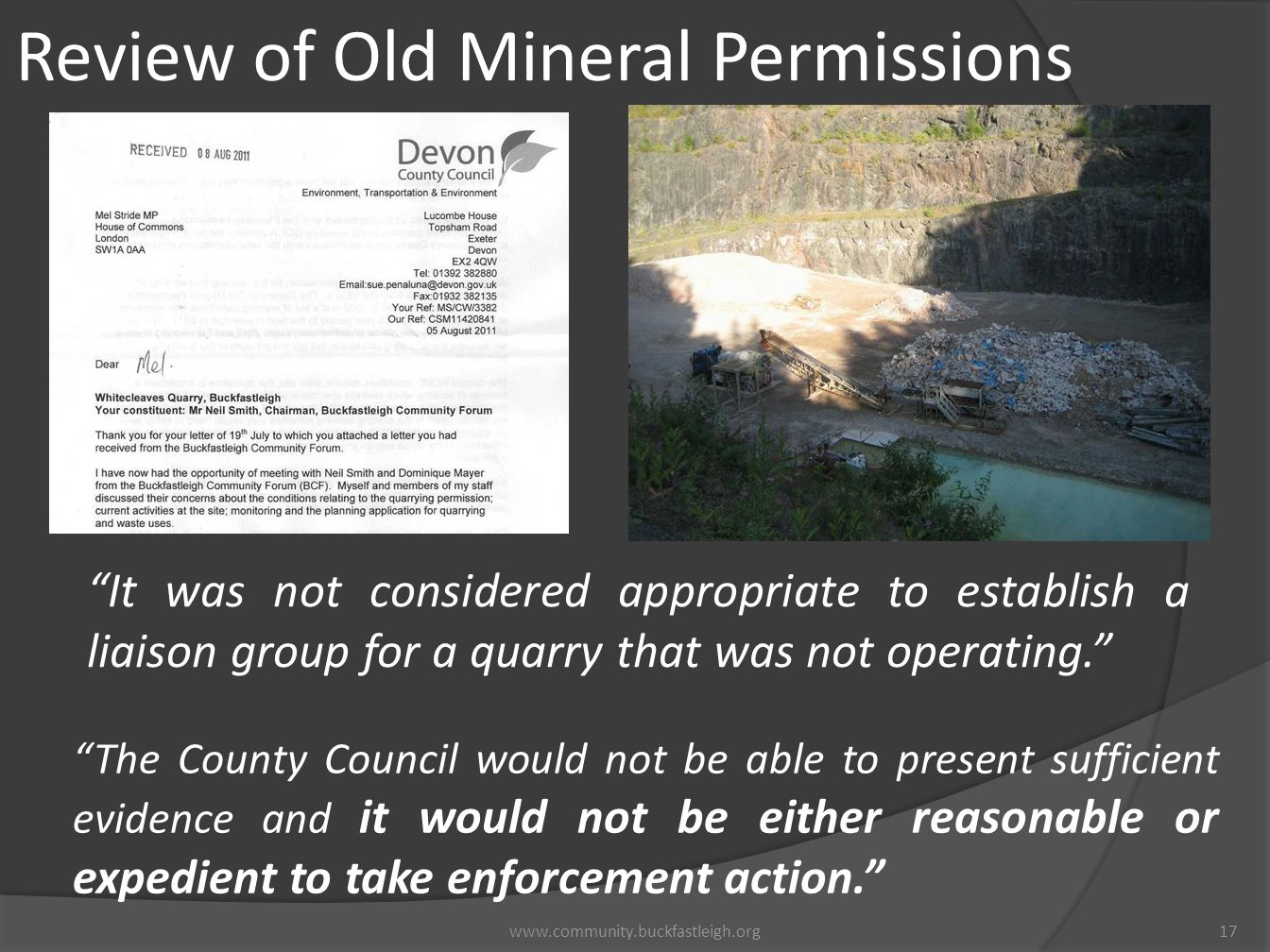 Review of Old Mineral Permissions