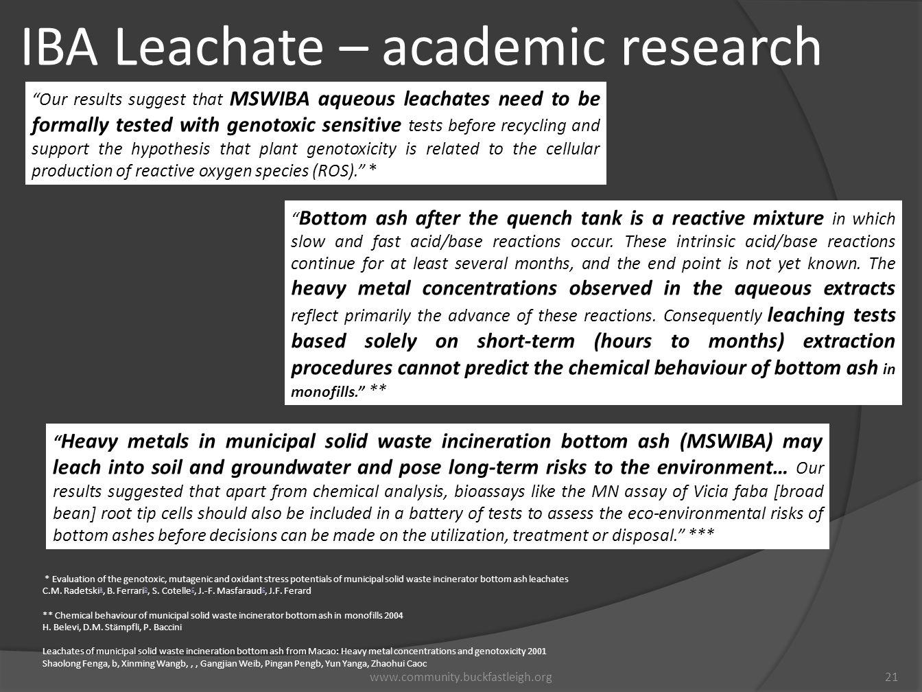 IBA Leachate – academic research