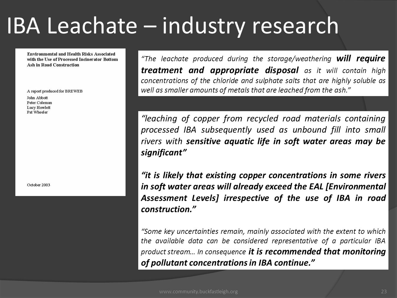 IBA Leachate – industry research