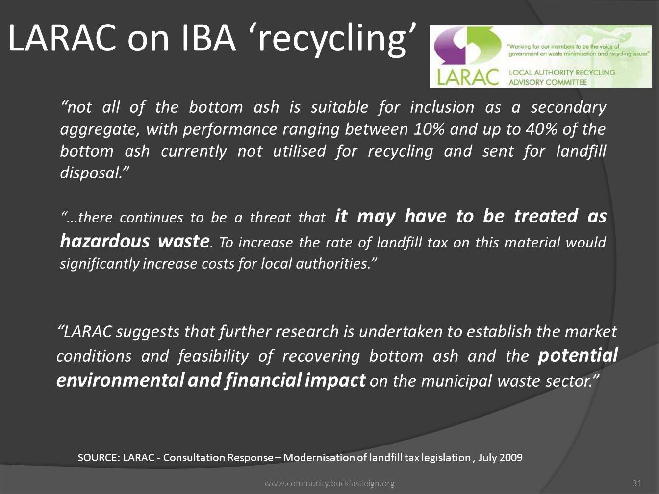 LARAC on IBA 'recycling'
