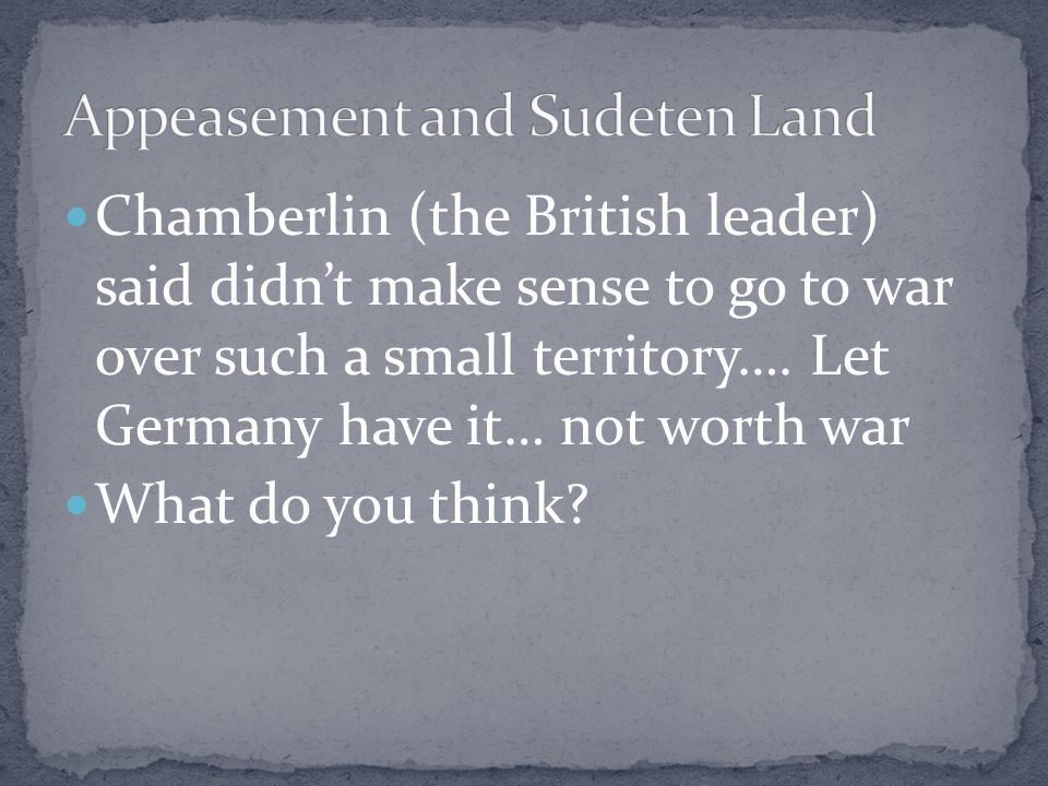 Appeasement and Sudeten Land