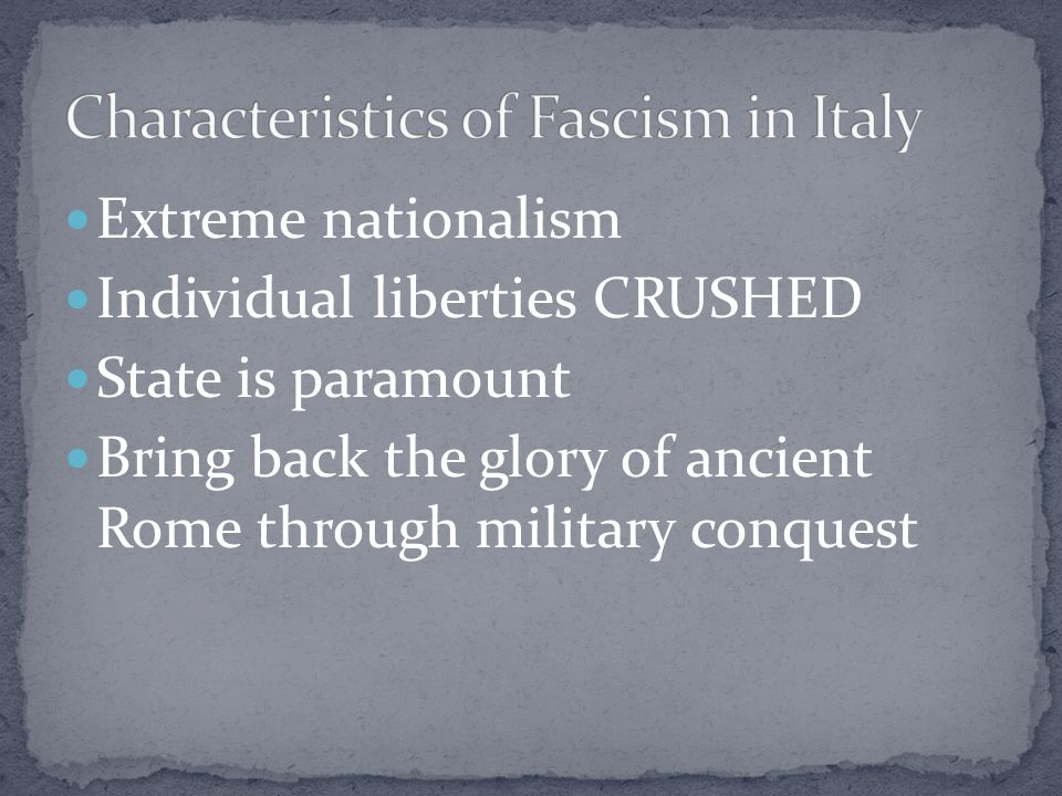 Characteristics of Fascism in Italy